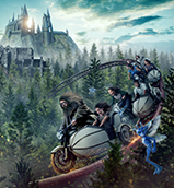 Hagrid drives a motorbike on a coaster track over a forest near Hogwarts castle.